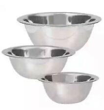 Set Of 3 Stainless Steel Mixing Cooking Bowls Assorted Sizes 6.875, 6.25, & 5.5