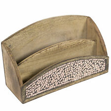 Copper Mosaic Vintage Wooden Letter Rack Holder Tray Organiser File Desktop