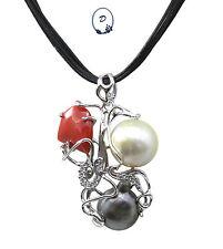 Colgante de Coral de la perla con la plata 925- Made in Italy