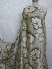 100% Silk Charmeuse Fabric Blossom Ivory Black Per Yard