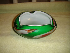 Vintage Murano Green Art Swirl Glass Ashtray-Heavy Green Glass-Lovely Curves