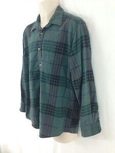 Oshkosh B'Gosh Mens L Green Plaid Hungarian Cotton Flannel Shirt
