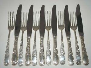 12Pc US Sterling Silver Dinner Fork & Knife Lot Old Maryland Pat S. Kirk (MeG)#2