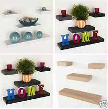 Set of 4 Wooden Floating Shelf Kit Wall Mounted Book Case Unit Wood CD Storage
