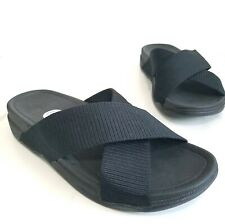 FitFlop Men's Surfer Slide Flip Flop Black Textile Straps Toning Shoes Size 10