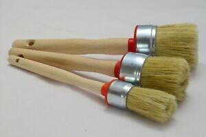 50 40 25 Paint Brush Set 3 Shabby Chic Chalk Paint Pure Bristle Round Brush, Wax