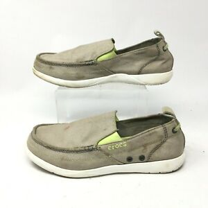 Crocs Walu Slip On Loafer Men 9 Grey Canvas Casual Comfort Shoes Round Toe 11270