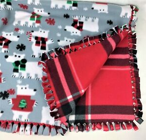 Polar Bear & Red Black Plaid Reversible Plush Fleece Fringe Tie Blanket, 51x58