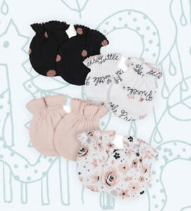 New Gerber 4 Pack Baby Girl Scratch Mittens Gloves 0-3 Months Princess Pink Blac