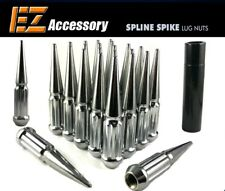 24 PC Solid Spline Spike Lug Nuts Kit | Chrome | 12x1.5 | Chevy | with Key