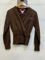 TOMMY HILFIGER Womens Cardigan Sweater Size 14 L Large Brown