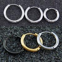 Men Women Silver Stainless Steel Tube Hoop Ear Ring Stud Earrings Jewelry 1 Pair