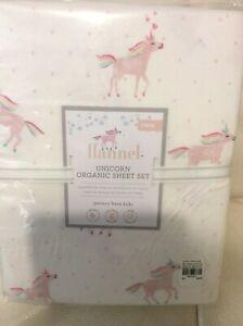 Pottery Barn Kids Organic Flannel Pink Unicorn Rainbow Sheet Set Twin NWT