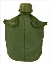 GOURDE US PVC 1 LITRE AVEC HOUSSE ASPECT CUIR VERT OLIVE (Surplus militaire - Et