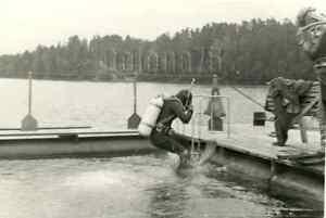 1980s Soviet Men Diver Submersion Scuba Diving Gear Suit Russian vtg photo