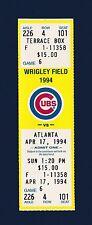 Chicago Cubs vs Atlanta Braves 1994 unused ticket stub Ryne Sandberg Home Run