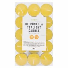 Citronella Tealight Candles 15 Pack Long Burn Garden Citrous Scented Wax Candles