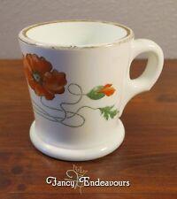 Antique Art Nouveau Milk Glass Shaving Mug with Red Poppy