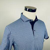 Rodd & Gunn Mens Medium Sports Fit Polo Shirt Blue White Geometric Cotton Casual
