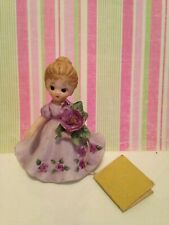 Rare collectible Josef original figurine Purple girl dress violet February tag