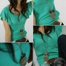 5pc Women Fashion Vintage Style Bronze Owl Long Chain Necklace Pendant Jewelry