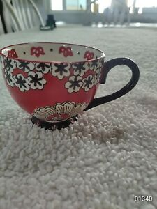 Dutch Wax by Coastline Imports Anthropologie Handpainted Red Ceramic  Mug Floral