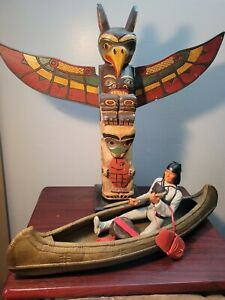 MARX BEST OF THE WEST JOHNNY WEST CUSTOM TOTEM POLE /CANOE AND GERONIMO