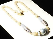Vintage Czech necklace lampwork aventurine gold black marbled lilac glass beads