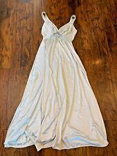 Vintage Olga Nightgown Slip Dress Long Light Blue Lace Body Silk M/L Nylon Blend