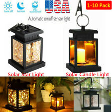 Waterproof Outdoor Solar Hanging Light Led Candle String Lantern Yard Decor Lamp