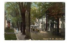NH - CONCORD NEW HAMPSHIRE Postcard STATE STREET HOUSES OLD CAR LADIES WALKING