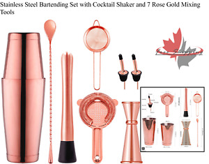 Stainless Steel Bartending Set with Cocktail Shaker and 7 Rose Gold Mixing Tools