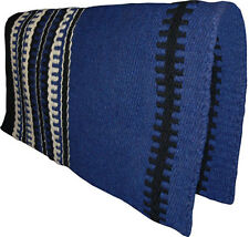 "NEW Dark BLUE Western Saddle Show Pad Blanket Navajo New Zealand Wool 33"" x 32"""
