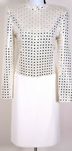 ST.JOHN Evening Womens Knit White With Gold Silver Sequins Jacket & Skirt Sz 12