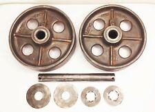 "Vtg antique cast iron 8"" caster wheels industrial factory farm cart dolly"