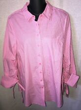 Peck & Peck Pink & White Button Front Blouse With Cuffed Pull String Sleeves - M