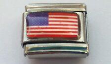 THE AMERICAN FLAG United States USA Italian Charm Fits Classic Bracelet Link