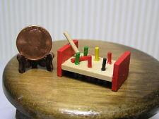 "Miniature Dollhouse Wooden Pound-a-Peg Board 1 1/4"" X 5/8"" H"