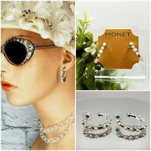 Monet Earrings Pierced Champagne Pearl Silver Tone Hoop Luxe Vintage Style