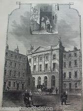 ANTIQUE PRINT C1880'S SERJEANTS' INN FLEET STREET OLD  LONDON ENGRAVING HISTORY