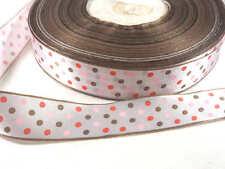 Ruban Satin 25mm Imprimé Multicolore à Pois Rose Rouge Blanc Marron Galon de 3M