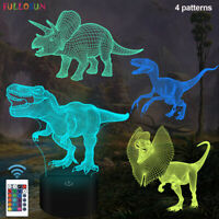 Dinosaur 3D Night Light for Kids Xmas Gifts with 16 Color LED Bedside Decor Lamp