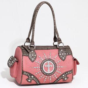 Women's Western Rhinestone Studded Shoulder Bag / Croco Trim & Cross - Pink