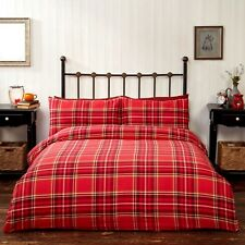 Rapport Campbell Check 100 Brushed Duvet Set Cotton Red King