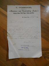 Antique 1903 T. Fosshage Furniture & Undertaking Goods Mt Horeb Wisconsin Letter