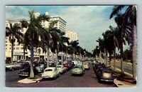 Miami FL, Biscayne Boulevard, Skyscraper Hotels, Chrome Florida c1952 Postcard