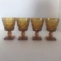 "4 Vintage Colony Park Lane Amber Gold WINE GLASSES Goblet Footed 4 1/2"" MCM 1"