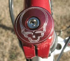 "STEAL YOUR FACE RED HEADSET STEM TOP CAP 1 1/8"" CUSTOM ENGRAVED GRATEFUL DEAD"