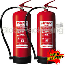 2 x NEW 9 LITRE WATER FIRE EXTINGUISHERS 9L WAREHOUSE OFFICE WORKSHOP *24HRS*