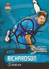 ✺Signed✺ 2015 2016 ADELAIDE STRIKERS Cricket Card KANE RICHARDSON Big Bash